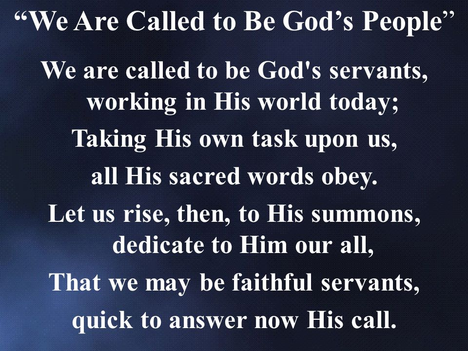 We Are Called to Be God's People