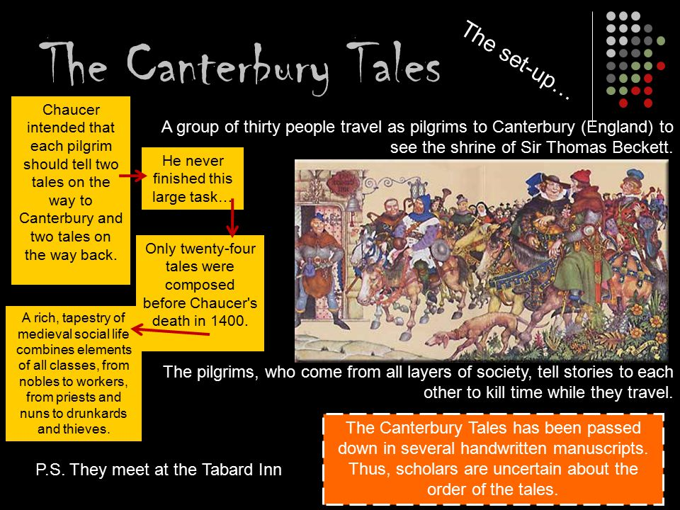 the canterbury tales the tabard inn De tabard inn was een herberg gevestigd aan borough street in southwark, een deel van londen ten zuiden van de theems na de moord op thomas becket in 1170 in canterbury diende deze herberg.