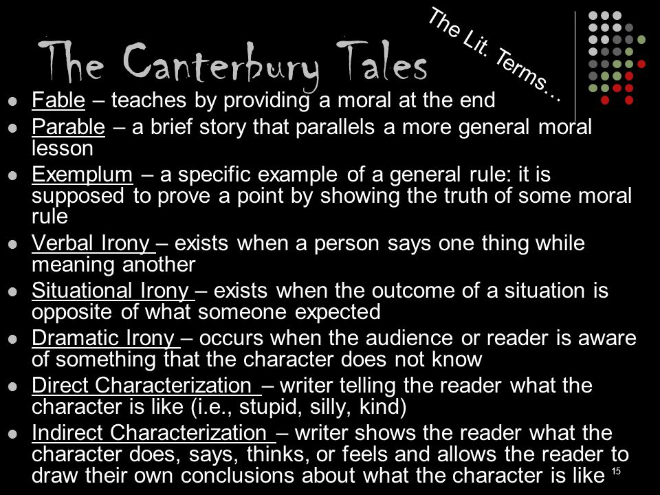 The Canterbury Tales The Lit. Terms…