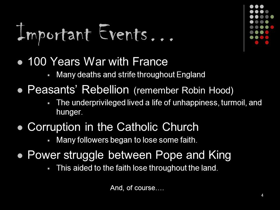 Important Events… 100 Years War with France