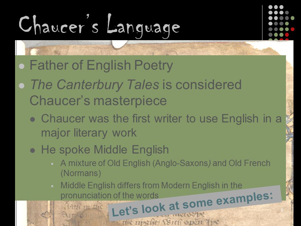 Chaucer's Language Father of English Poetry