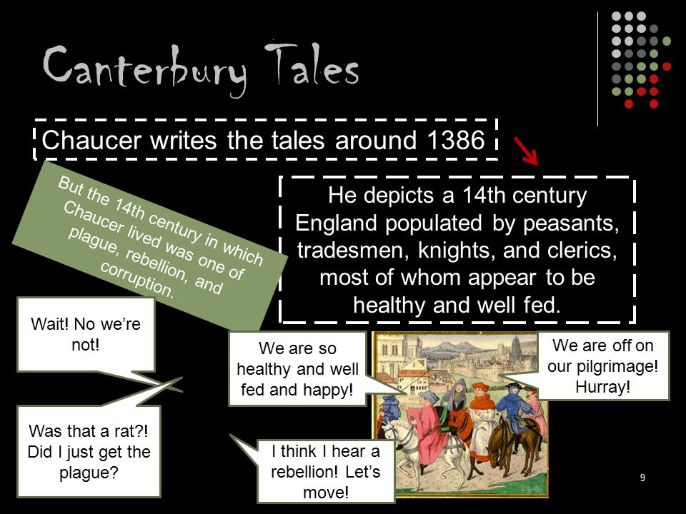 Canterbury Tales Chaucer writes the tales around 1386