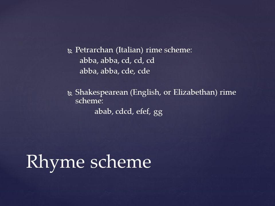 Rhyme scheme Petrarchan (Italian) rime scheme: abba, abba, cd, cd, cd