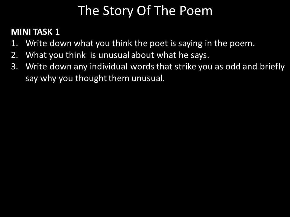 The Story Of The Poem MINI TASK 1