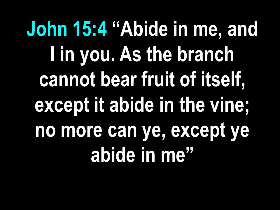 John 15:4 Abide in me, and I in you