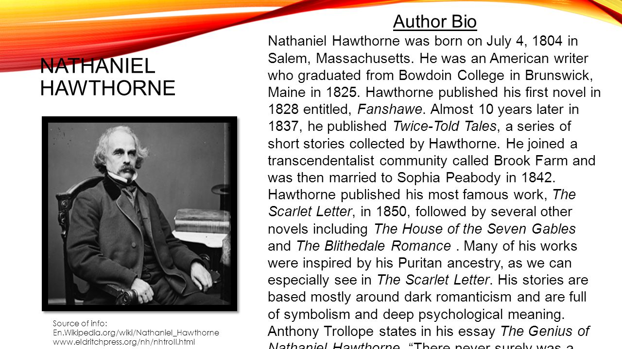 A biography of nathaniel hawthorne an american author