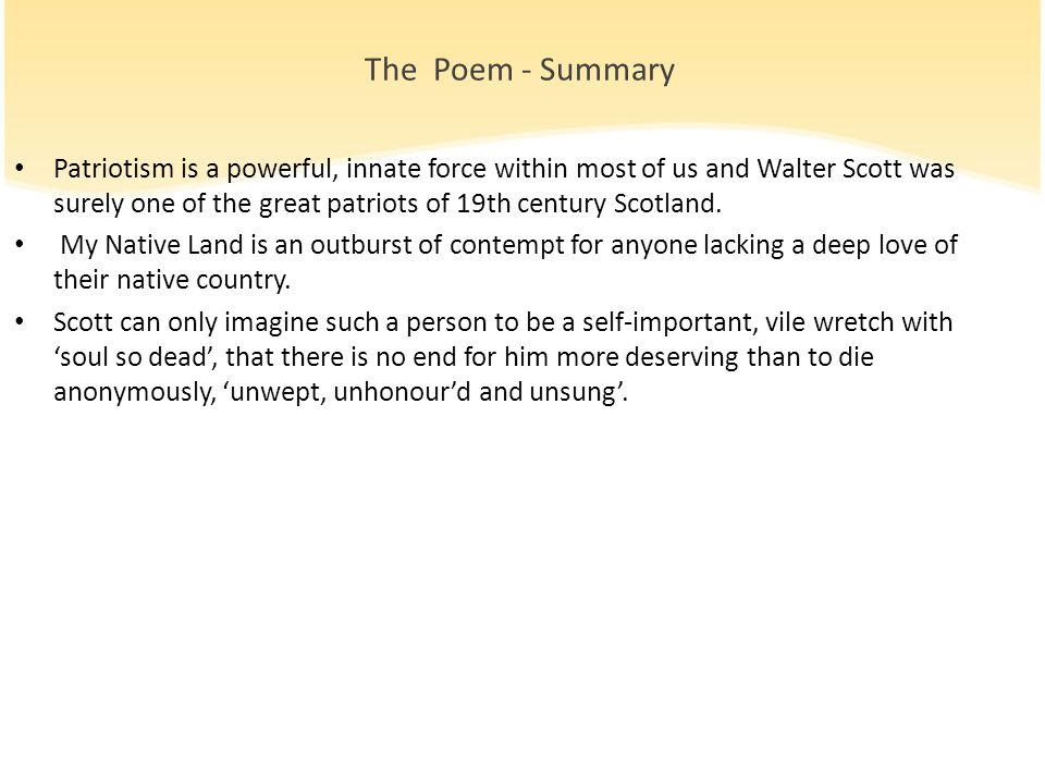 The Poem - Summary