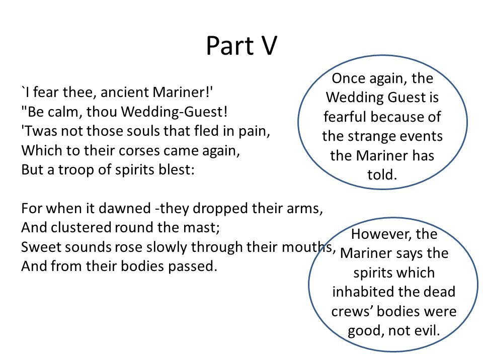 Part V Once again, the Wedding Guest is fearful because of the strange events the Mariner has told.