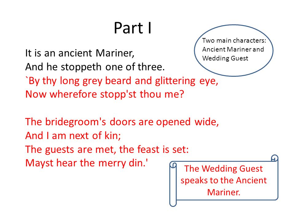 The Wedding Guest speaks to the Ancient Mariner.
