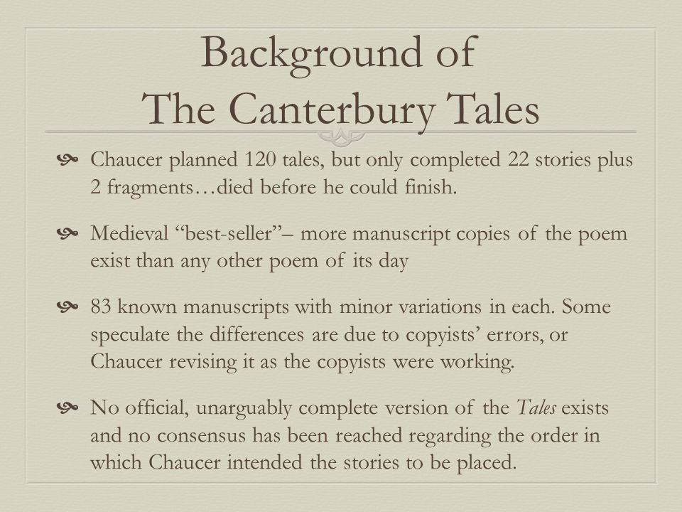 Background of The Canterbury Tales