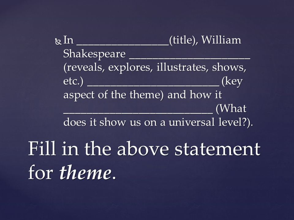 Fill in the above statement for theme.