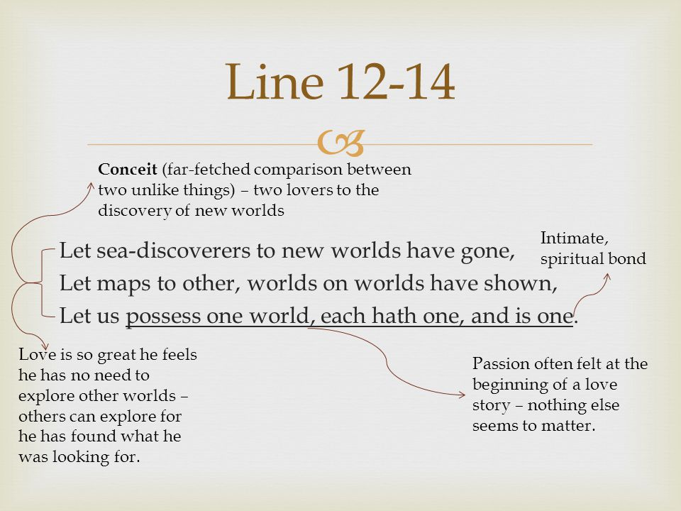 Line 12-14 Conceit (far-fetched comparison between two unlike things) – two lovers to the discovery of new worlds.
