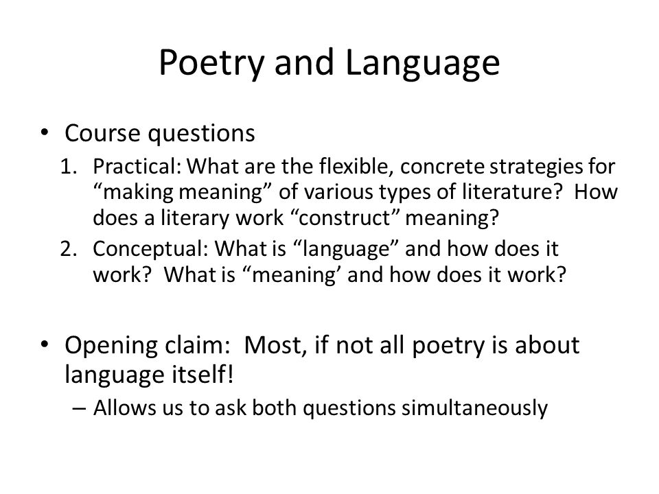 Poetry and Language Course questions