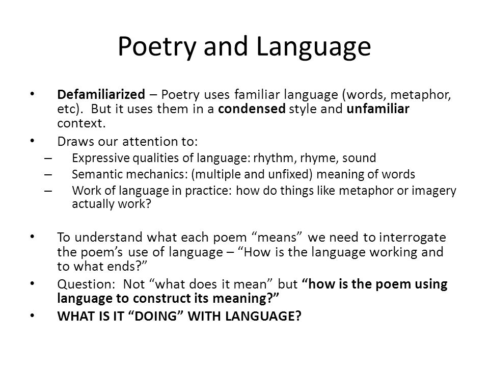 Poetry and Language