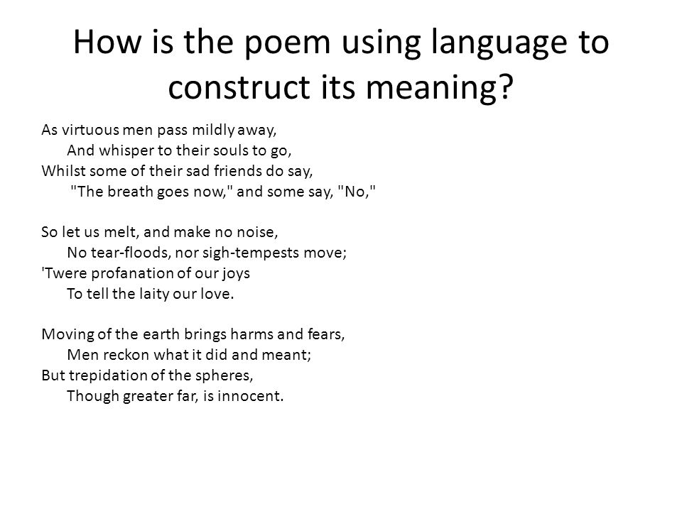 How is the poem using language to construct its meaning