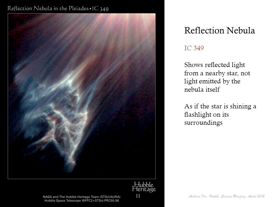 Reflection Nebula IC 349. Shows reflected light from a nearby star, not light emitted by the nebula itself.