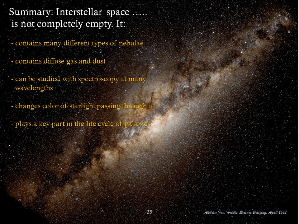 Summary: Interstellar space ….. is not completely empty. It: