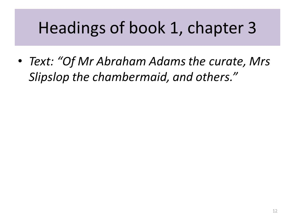 Headings of book 1, chapter 3