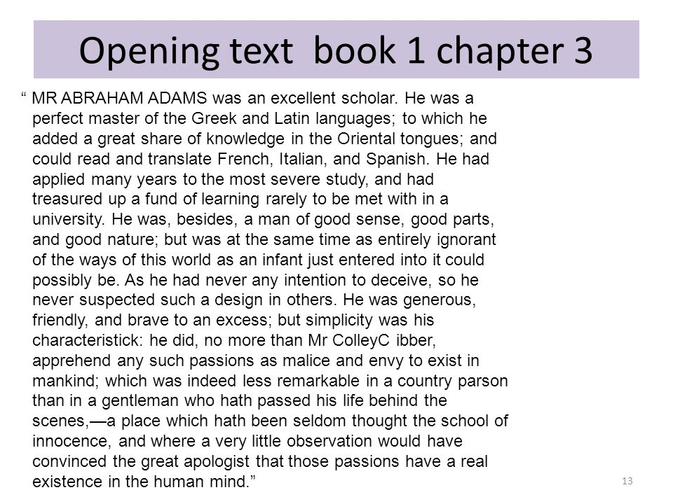 Opening text book 1 chapter 3