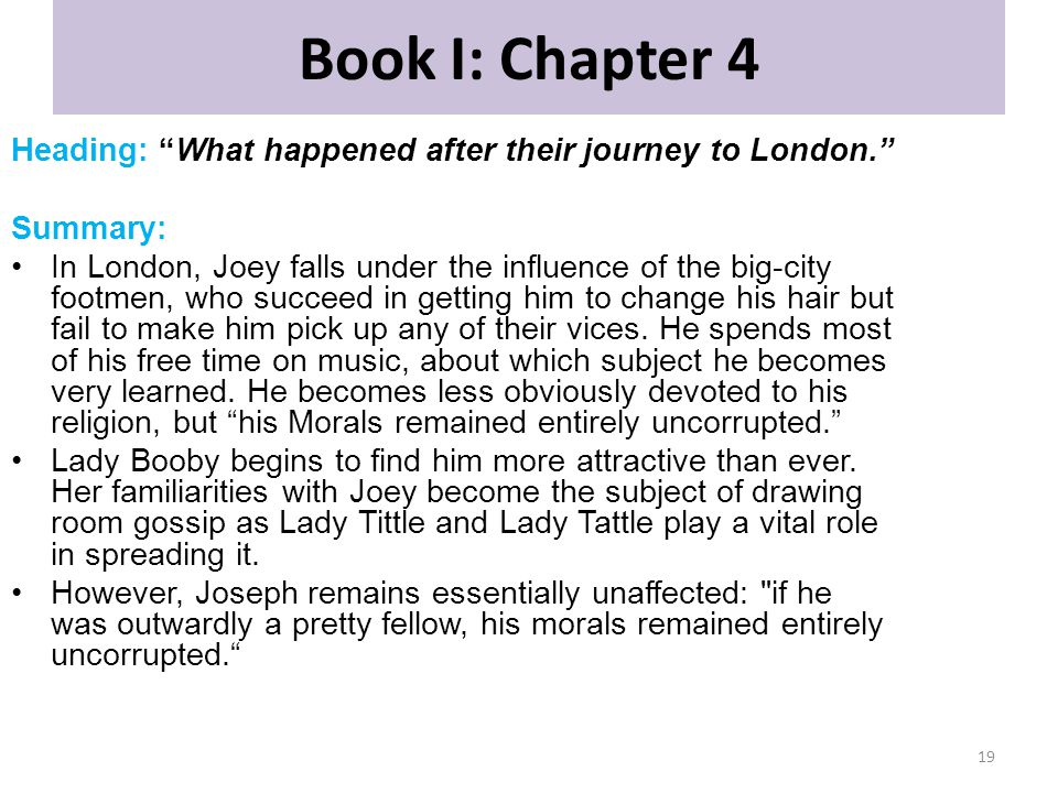 Book I: Chapter 4 Heading: What happened after their journey to London. Summary: