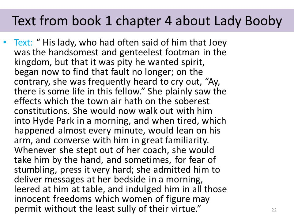Text from book 1 chapter 4 about Lady Booby