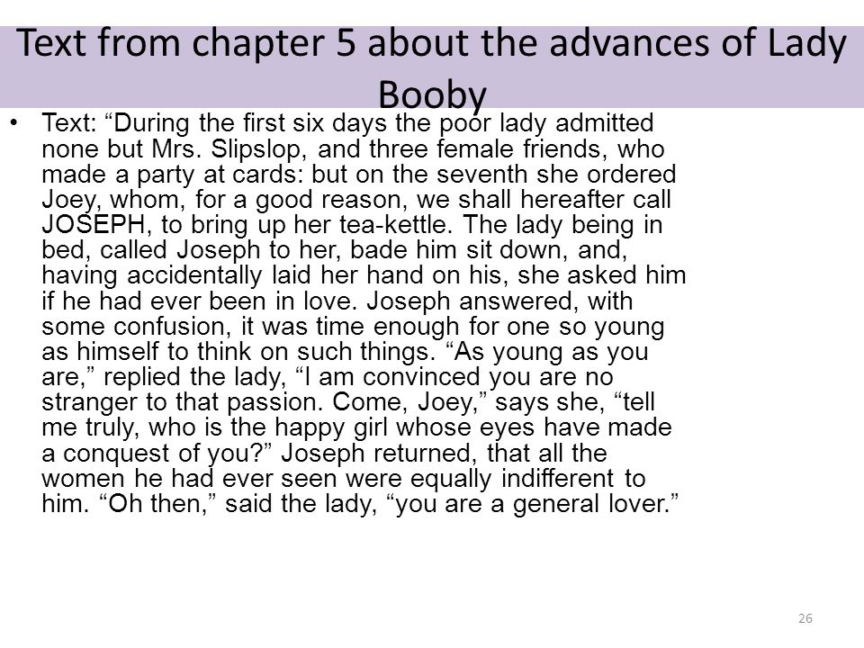 Text from chapter 5 about the advances of Lady Booby