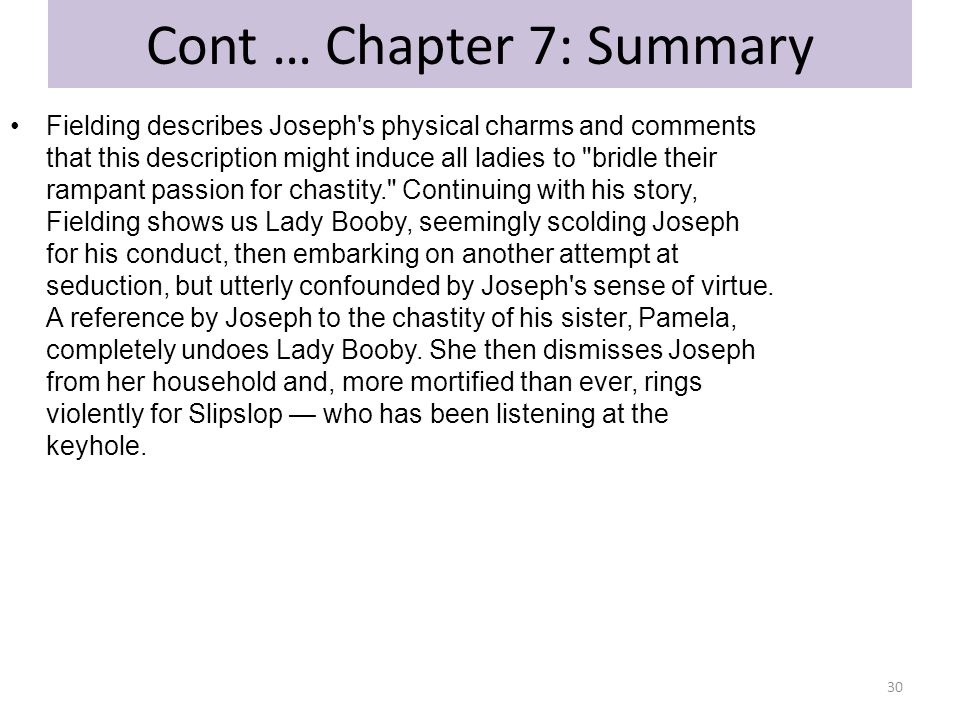 Cont … Chapter 7: Summary