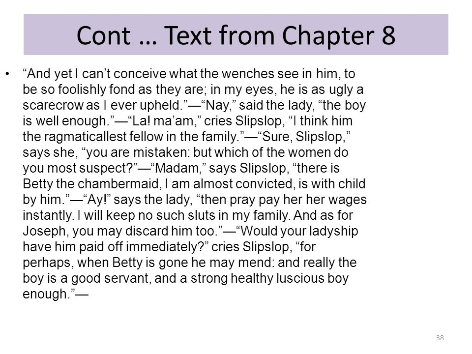 Cont … Text from Chapter 8