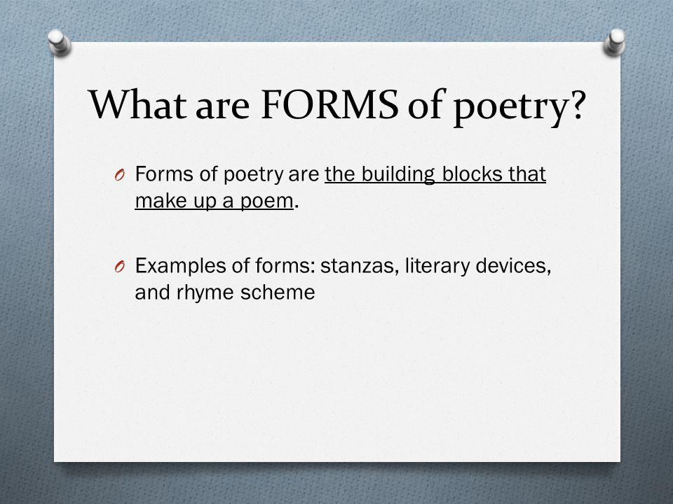 What are FORMS of poetry