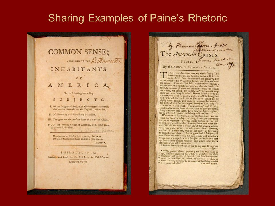 Sharing Examples of Paine's Rhetoric