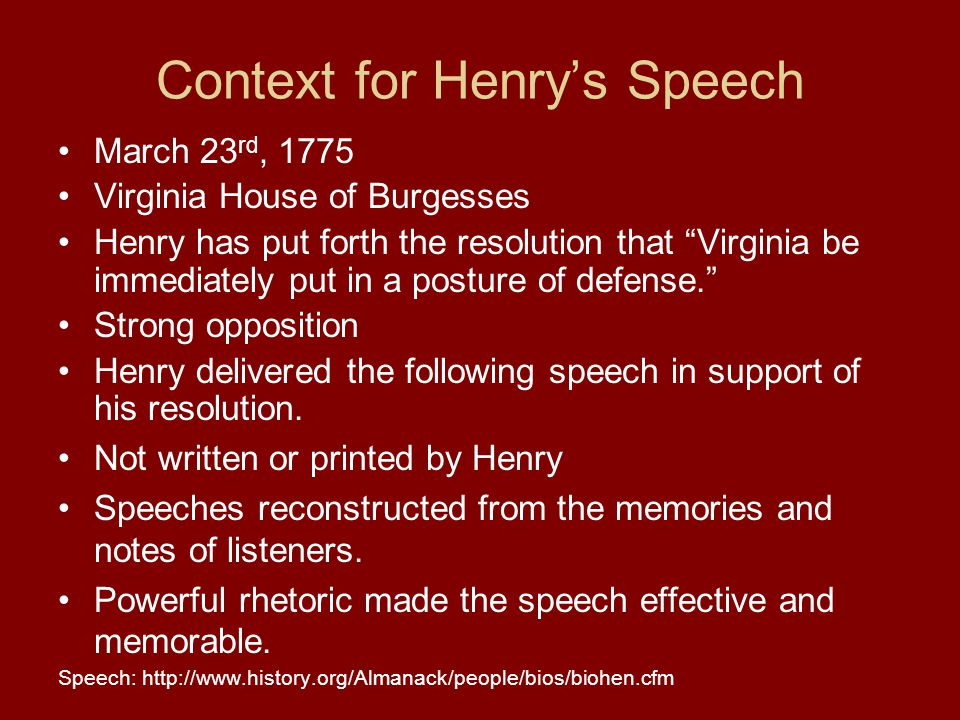 Context for Henry's Speech