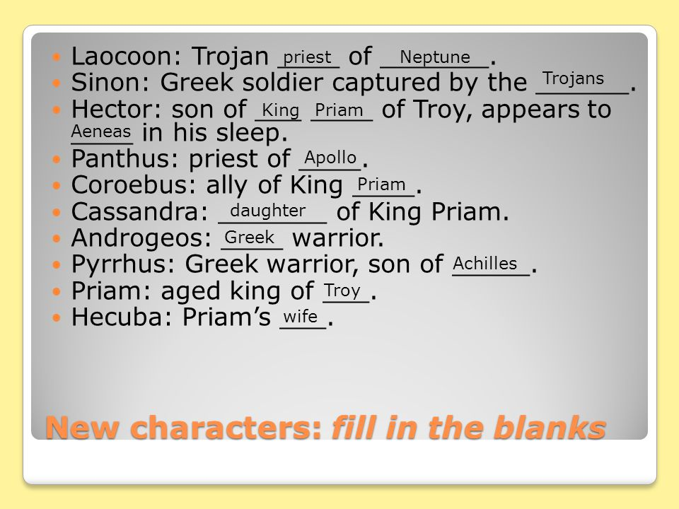 New characters: fill in the blanks