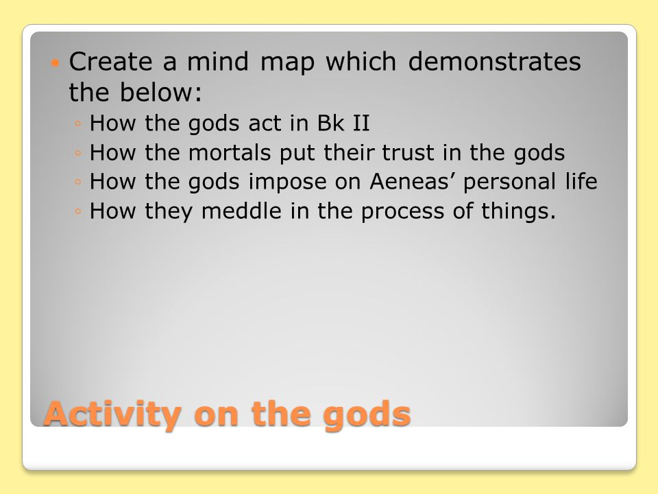 Activity on the gods Create a mind map which demonstrates the below: