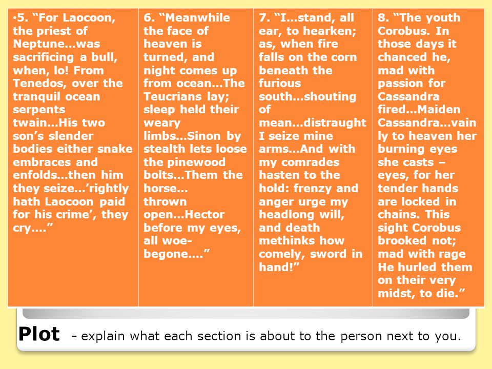 Plot - explain what each section is about to the person next to you.
