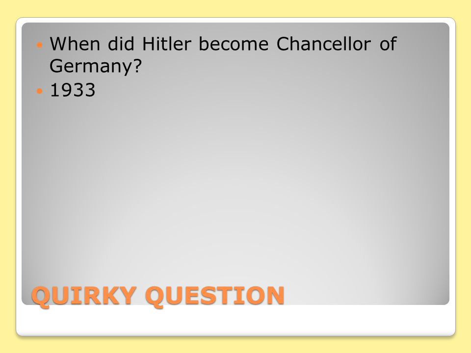 When did Hitler become Chancellor of Germany