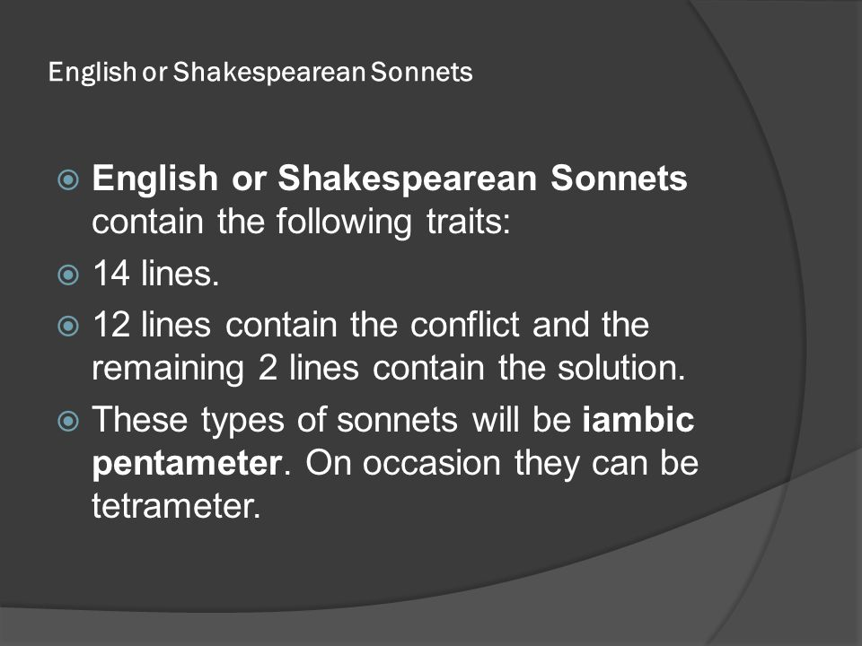 English or Shakespearean Sonnets