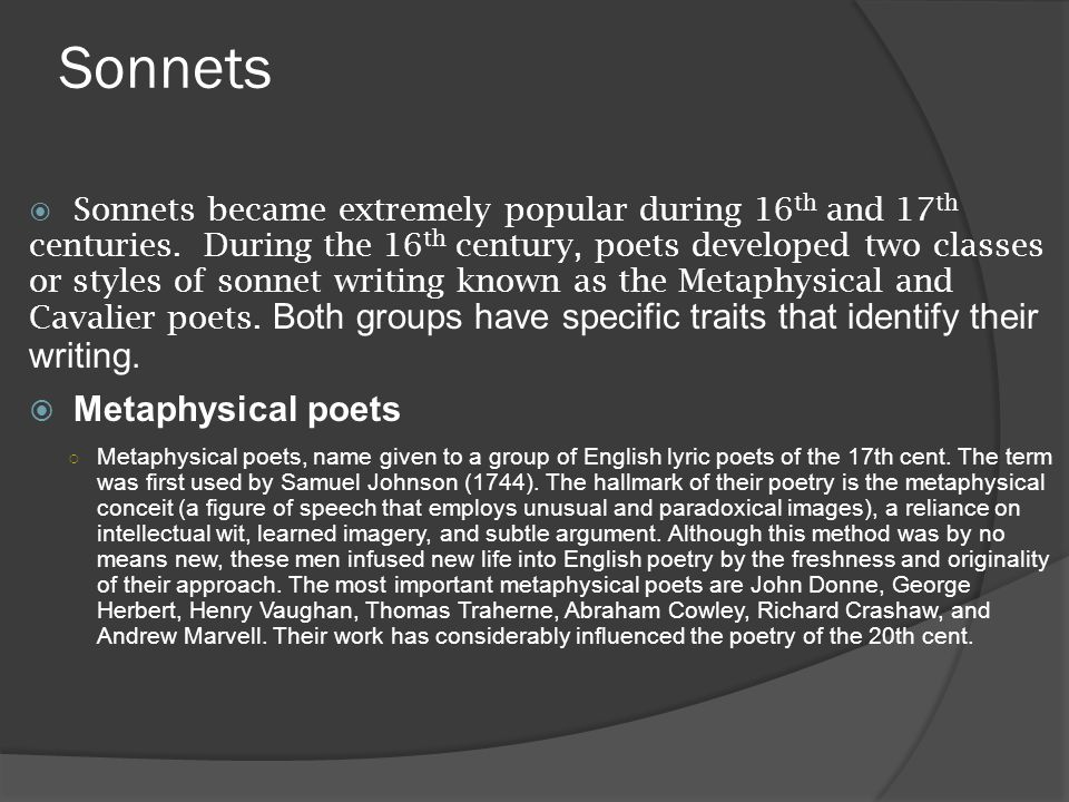 Sonnets Metaphysical poets