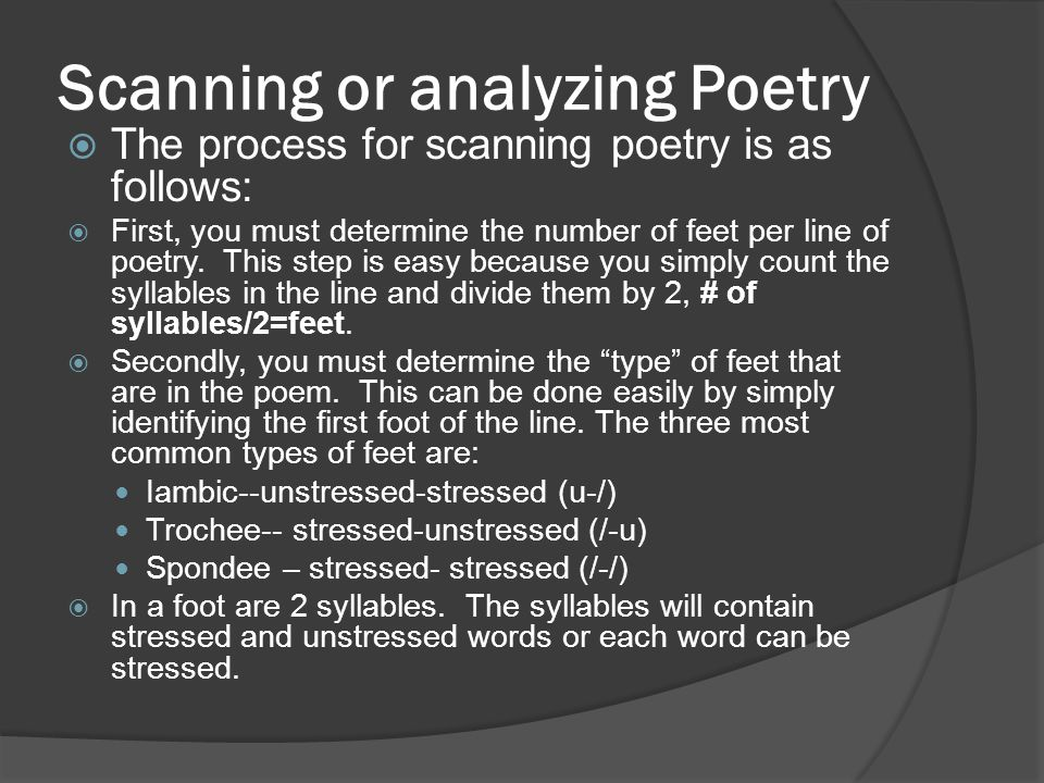 Scanning or analyzing Poetry
