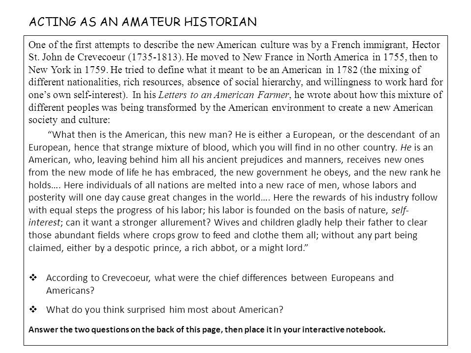 ACTING AS AN AMATEUR HISTORIAN