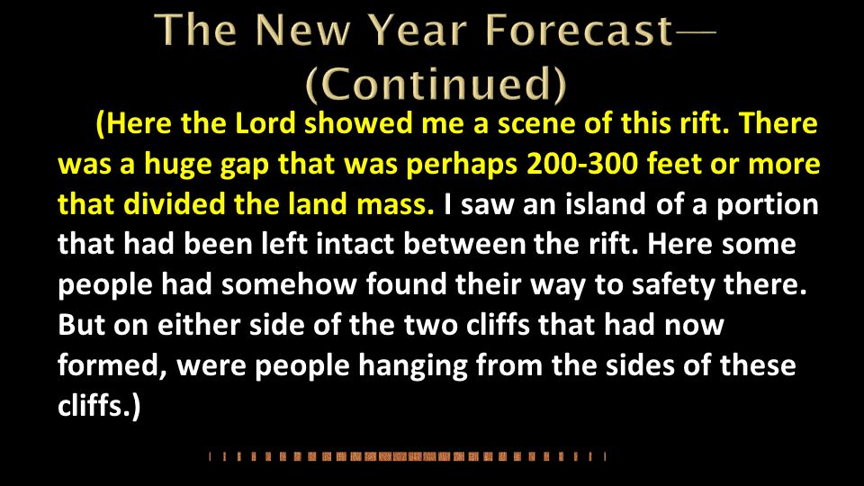 The New Year Forecast—(Continued)