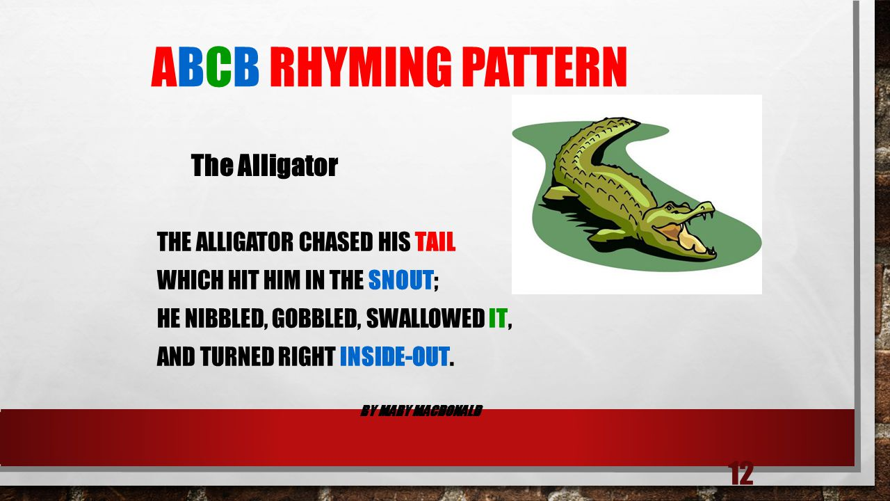 ABCB Rhyming Pattern The alligator chased his tail