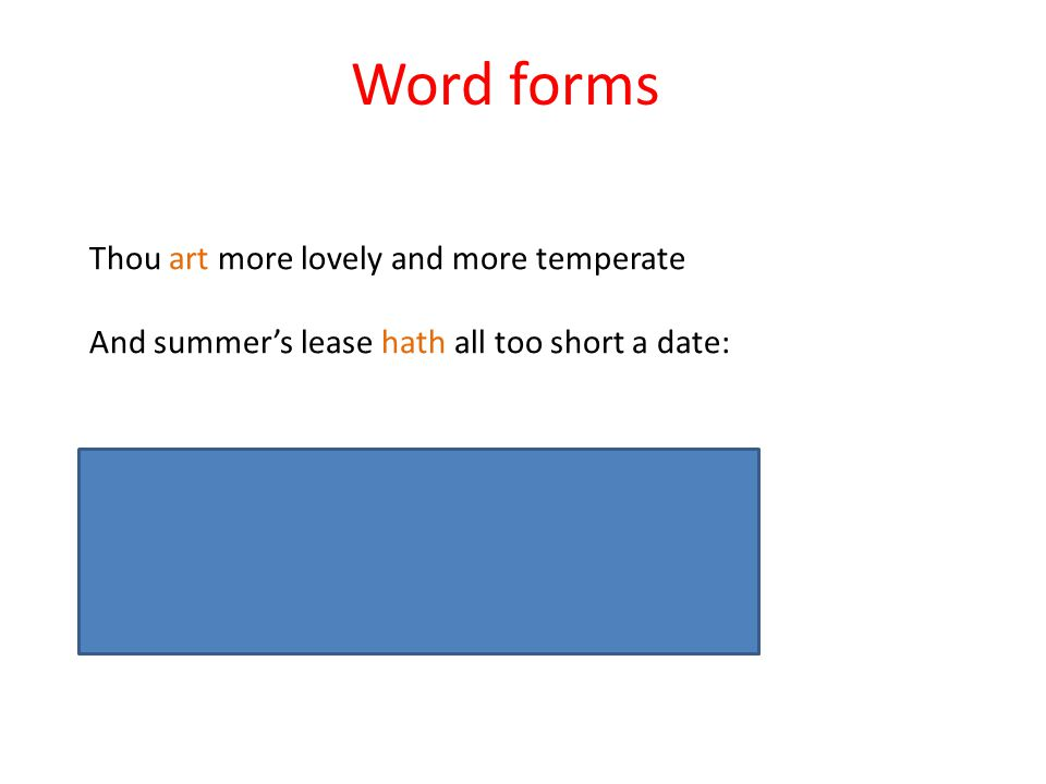 Word forms Thou art more lovely and more temperate