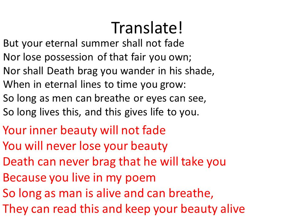 Translate! Your inner beauty will not fade