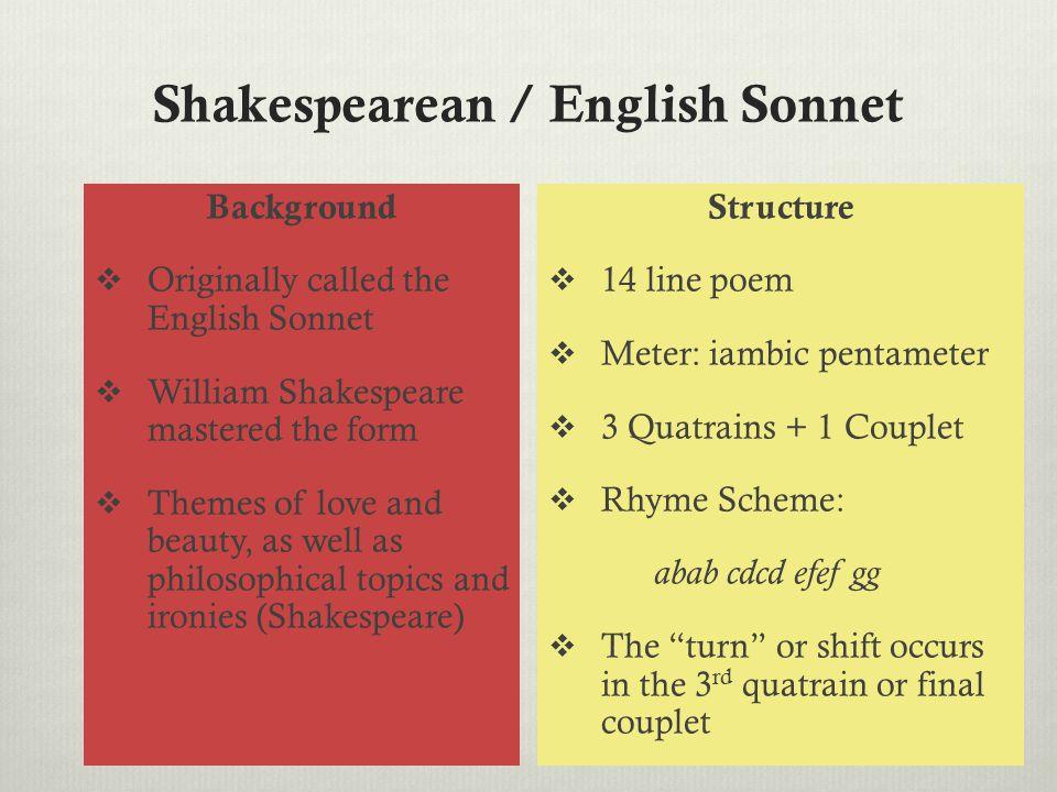 Shakespearean / English Sonnet