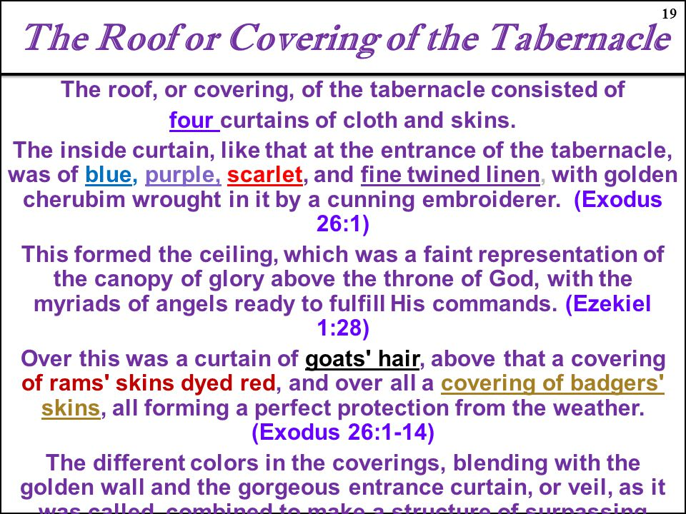 The Roof or Covering of the Tabernacle