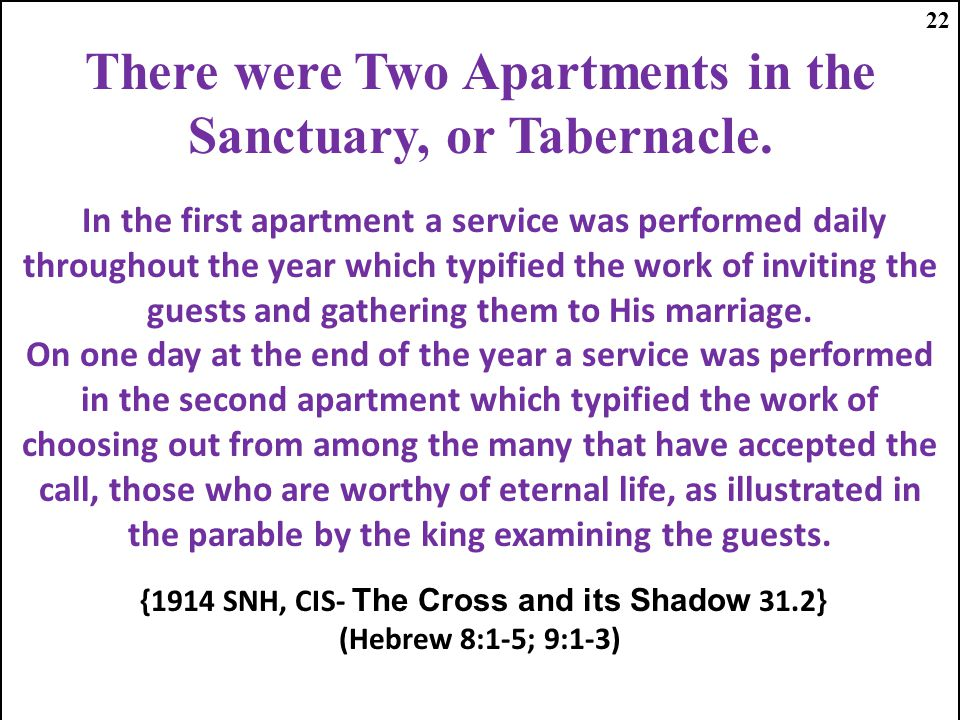 There were Two Apartments in the Sanctuary, or Tabernacle.