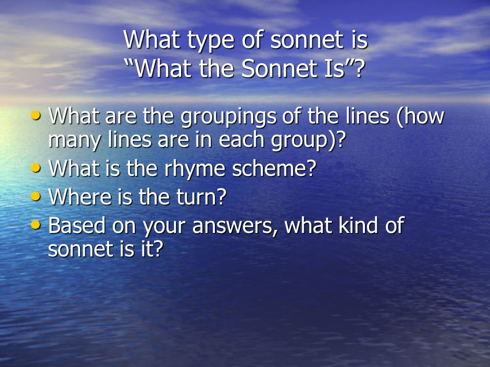 What type of sonnet is What the Sonnet Is