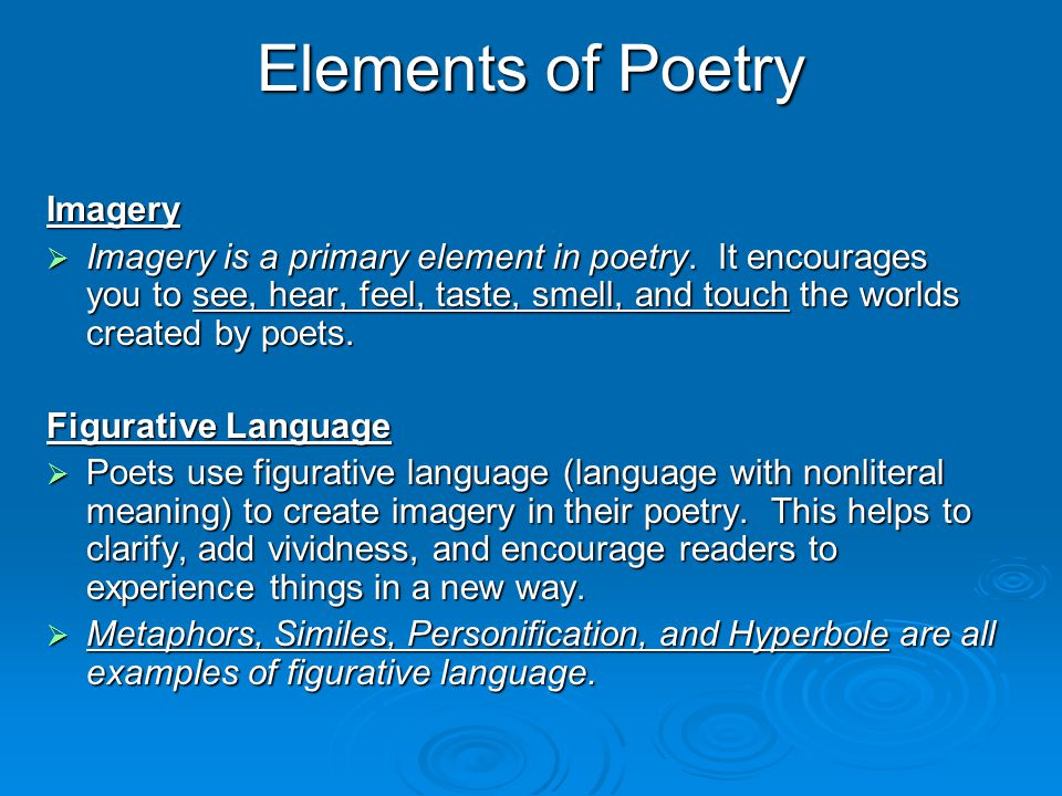 Elements of Poetry Imagery