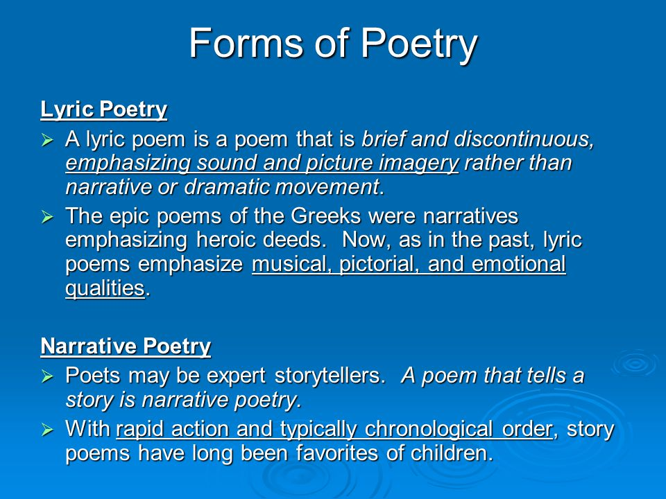 Forms of Poetry Lyric Poetry