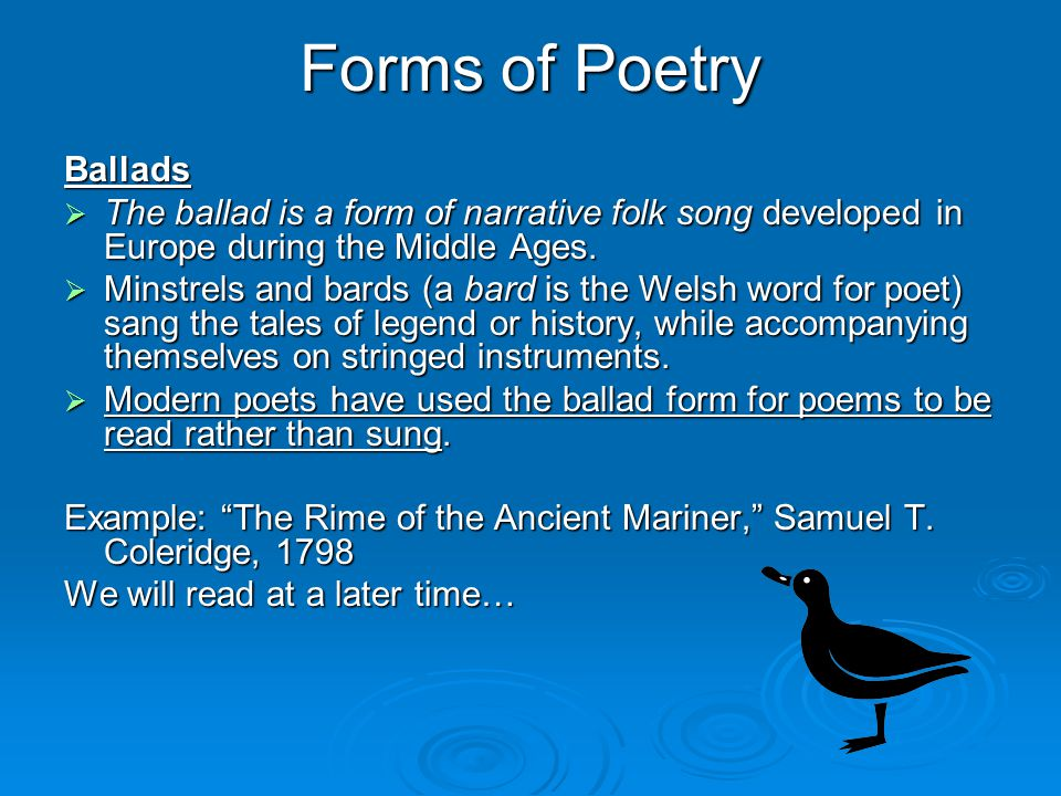 Forms of Poetry Ballads